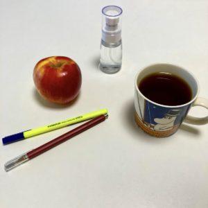 英会話Oneの教室の消毒液とおやつのりんご